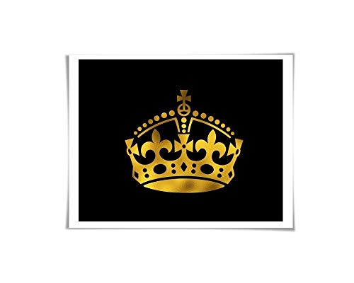 (Crown Gold Foil Art Print. 36 Colours/3 Sizes. Royal Queen King Princess Poster Nursery Wall Art Fashion Art)