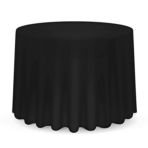 "Lanns Linens 132"" Round Premium Tablecloth for Wedding/Banquet/Restaurant - Polyester Fabric Table Cloth - Black"