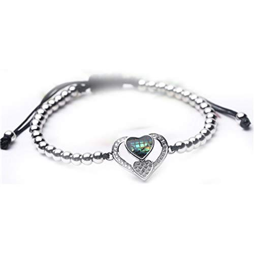 Bracelets for Women Beaded Bracelet Heart Rose Gold Handmade Weave Girlfriend Friendship Adjustable Bracelet Femme Jewelry,Imitation Rhodium Plated