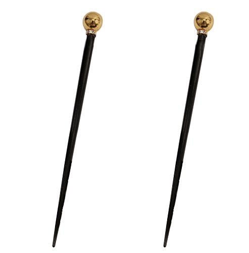 (Caravan Decorated Wooden Chop Stick with Gold Metallic Bead and Stone Roundel of Swarovski Stone in)
