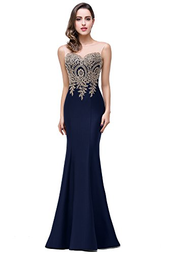 Elegant Mermaid Style Floral Lace Stretch Long Evening Prom Party Dress, 6, Navy (Stretch Lace Long Gown)