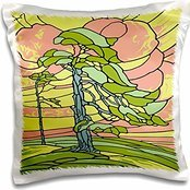 Russ Billington Designs - Windswept Pine Tree Stained Glass Design - 16x16 inch Pillow Case