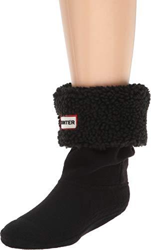 Hunter Kids Unisex Sheepy Fleece Cuff Boot Sock  Black X-Sma