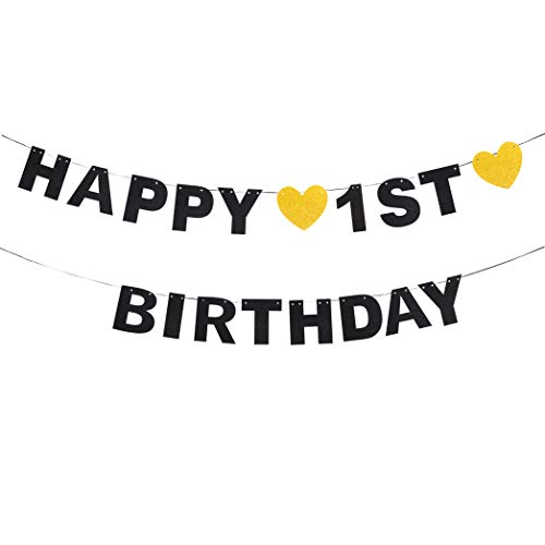(waway Happy 1st Birthday Black Glitter Paper Letter Banner Pennant Sweet Gold Glitter Heart Little One Baby Shower Boy's or Girl's First Bday Party Hanging Ornament Decoration.)