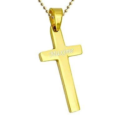 74bf2e6ed7d7e5 Pendentif croix acier doré personnalisé  Amazon.fr  Bijoux
