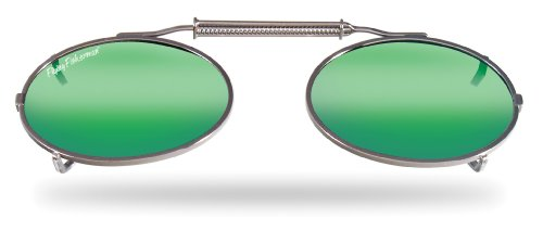 (Flying Fisherman Action Angler SpringLock Small Oval Shape Clip-Ons, Amber/Green Mirror Lenses)