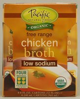 PACIFIC FOODS BROTH CHKN 4PK LS ORG, 32 OZ
