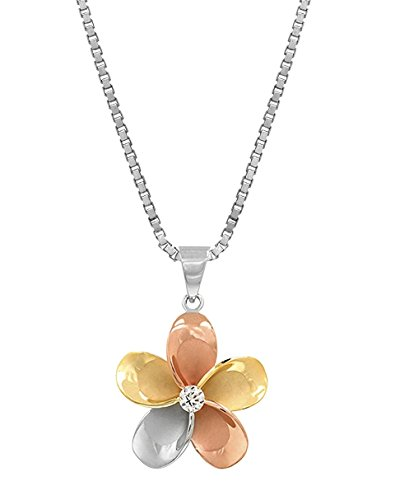 14k Gold Tri-Color Plated Sterling Silver Plumeria CZ Necklace Pendant with 18