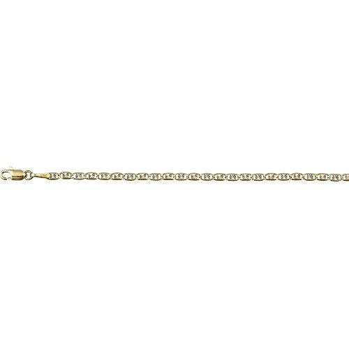 14K Gold Tricolor 2MM 10'' Valentino Star Diamond Cut Bracelet by Decadence