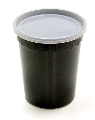 Pactiv / Newspring 32 oz. Black DELItainer Plastic Freezer Food Deli Soup Containers Tubs w/Lids