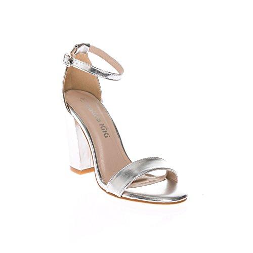 CALICO KIKI EUGENE-CK01 Women's Casual Open Toe Ankle Strap Block Heel Sandal Pumps (10 US, Silver Metallic)