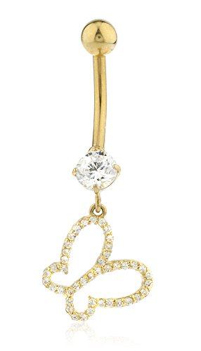 10k Yellow Gold Belly Button Ring with Dangling Butterfly & Cz Stone (GO-1479) (Butterfly Chain Belly Button Ring)