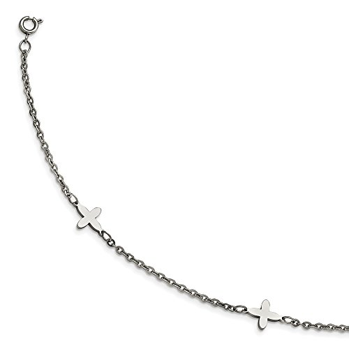 (Stainless Steel Polished Cross Charms with 1in extension Anklet)