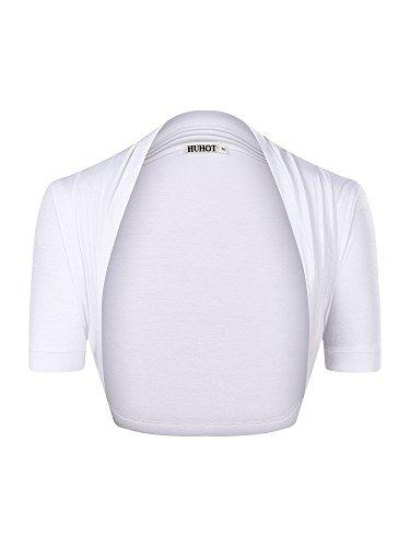 HuHot Womens Versatile Open Front Lightweight Short Sleeve Bolero Shrug Large ()