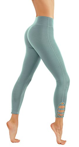 CodeFit Yoga Pants with Mesh Cutouts CrisCross Leg Cutouts 7/8 & Capri Leggings (L USA 8-10, CF321-M.T.BLU) ()
