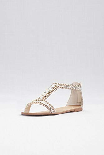 David's Bridal Crystal and Jewel Embellished Flat Sandals Style Posey, Rose Gold, 9