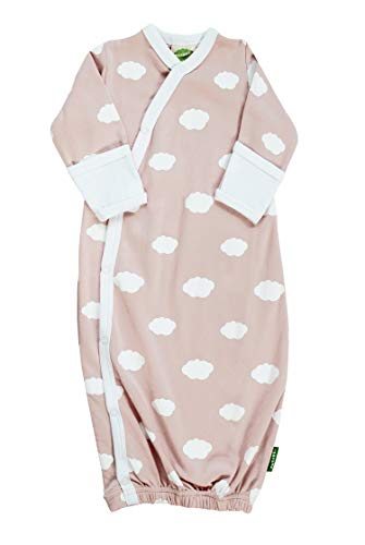 Parade Organics Kimono Gowns - Signature Prints Cloud Pink with White Trim 0-3 Months