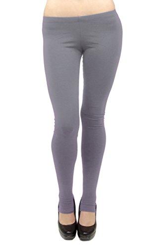Vivian's Fashions Long Leggings - Cotton/Stirrup, Misses Size (Grey, 1X)