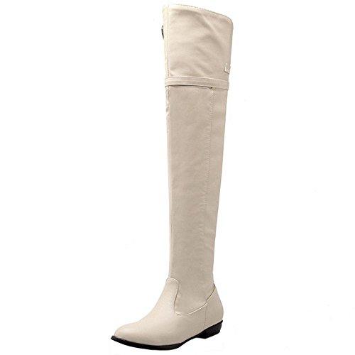 Shoes Fashion KemeKiss Women Thigh Flat Winter Zipper Hlf Beige Boots High OSqz15SZ