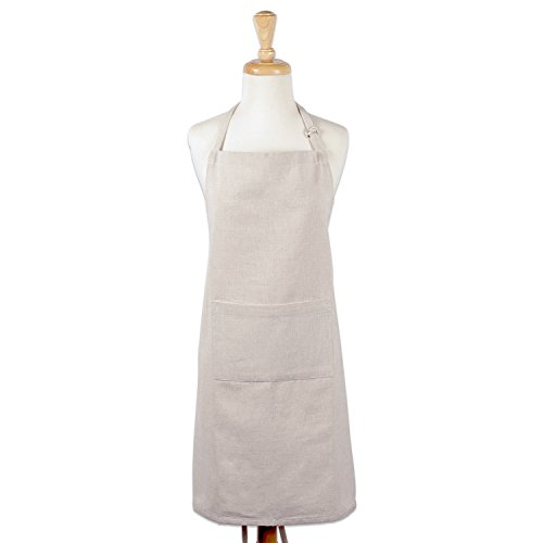 [DII 100% Cotton Chambray Chef Apron with Pocket, Unisex Bib Kitchen Apron, Adjustable Neck & Extra-Long Waist Ties, for Cooking, Baking, BBQ-Chambray Natural] (Tie Apron)