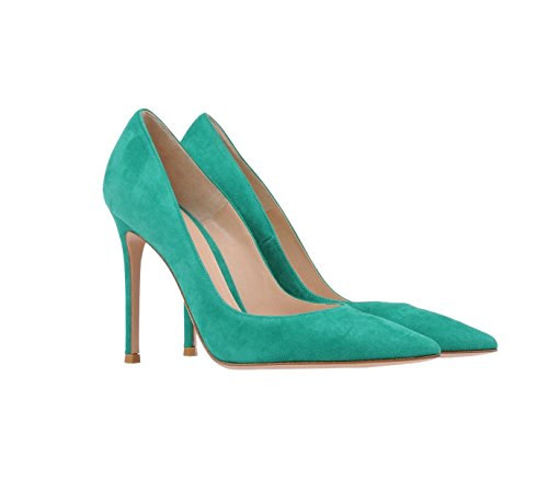 Pumps Sammitop Classic Toe Stiletto Pointed Suede Heel 10cm Women's Shoes Green twqZ1