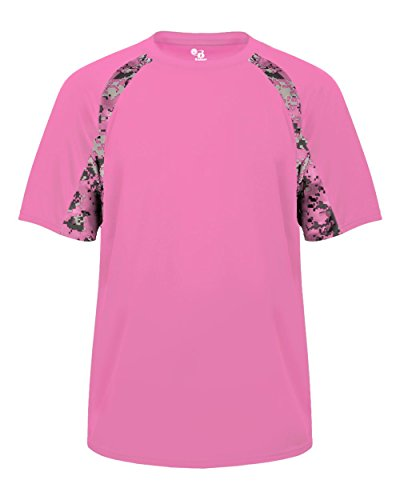 Pink Digi-Camo Adult Large Short Sleeve Digi-Camo Side/Sleeve Panel Performance Sports Wicking Jersey/Shirt - Pink Softball Jerseys