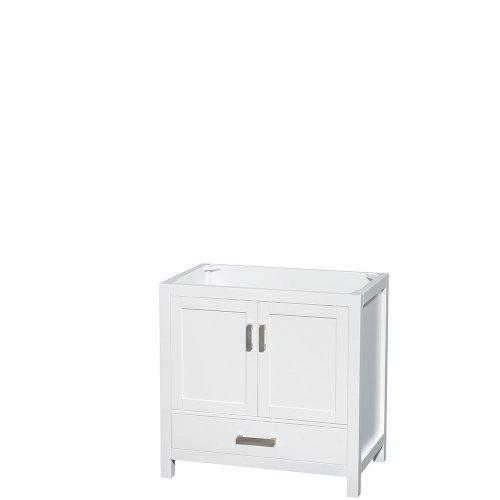 Wyndham Collection Sheffield 36 inch Single Bathroom Vanity in White, No Countertop, No Sink, and No Mirror