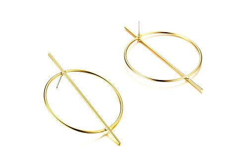 PJ Jewelry Gold Plated Stylish Minimal Stainless Steel Large Hoop with Vertical Bar Minimalist Statement Earrings for Girl