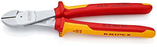 74 06 250 T High Leverage Diagonal Cutters 9, 84'' with Tether Attachment Pt by KNIPEX Tools