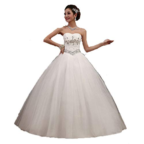 Sviper-clothing Elegant Wedding Dress Women Strapless Sweetheart Crystal Beaded Ball Gown Bridal Wedding Dress Corset Bodice Tulle Quinceanera Dresses Formal Evening Prom Party Dress Evening Dress
