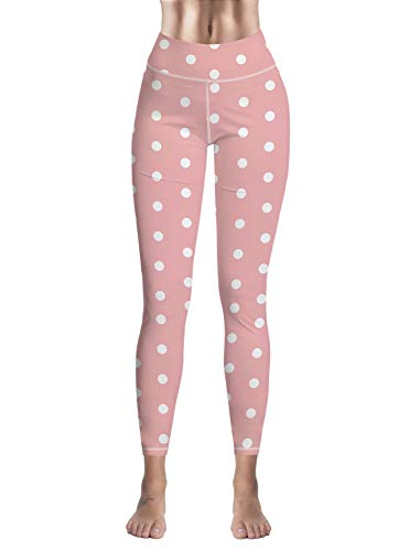 Custom Leggings Women High Waist Soft Yoga Workout Stretch Printed Pink Polka Dot Stretchy Capris Pants
