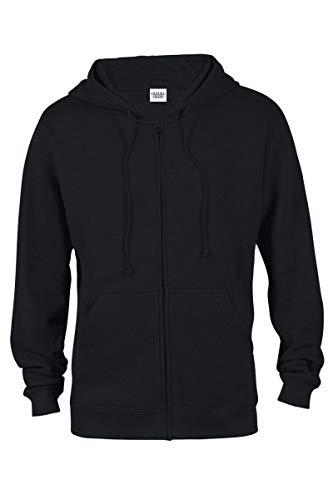 (Casual Garb Fleece Hoodies for Men Heather Heavyweight Full Zip Hoodie Hooded Sweatshirt Black XX-Large )