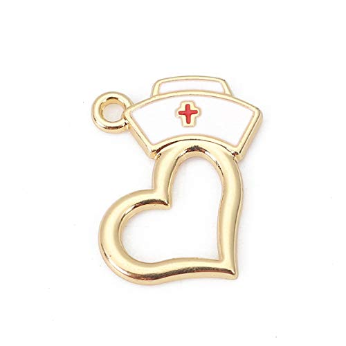 Nurse Cap Pendant Charms, 10 Pack Enamel and Heart, 3/4 x 5/8 Inch (Gold Tone) 5/8 Inch Wide Charm Pendant