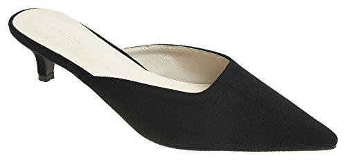 AnnaKastle Womens Pointy Toe Low Kitten Heel Mule Slide Chic Dress Sandal Shoes (Kitten Mule)