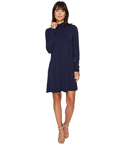 Mod-o-doc Women's Cotton Modal Spandex Jersey Funnel Neck Keyhole Back Swing Dress True Navy Medium