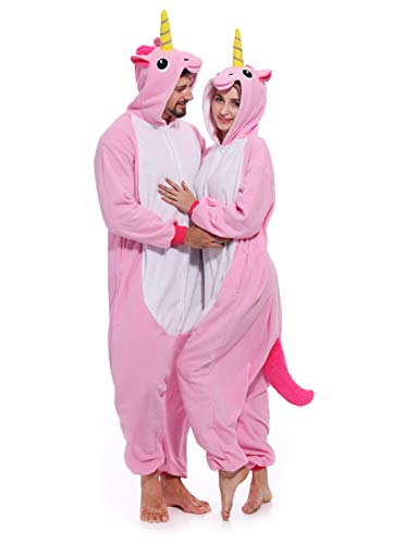 (Unicorn Onesie Adult Pajamas Animal Halloween Costume One Piece Hoodie for Women)