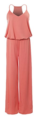 URBAN K Women's Plus and Regular Size Racer Back Jumpsuit Coral Medium