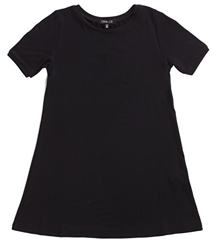 Emmalise Clothing Girl's Summer Spring Casual Fashion Jersey T-Shirt Dress - Black 5/6 -