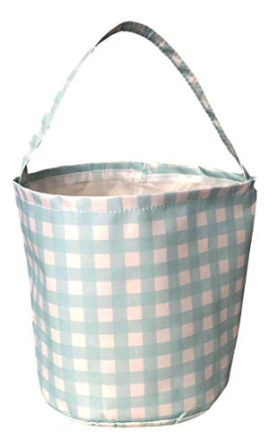 - Personalized Pastel Check Fabric Bucket Basket Tote Bag - Children's Toys - Easter - Baby (Aqua Check)