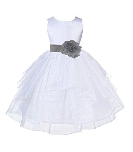 ekidsbridal Organza White Flower Girl Dresses Baptism Dress Pageant Dresses 4613s -