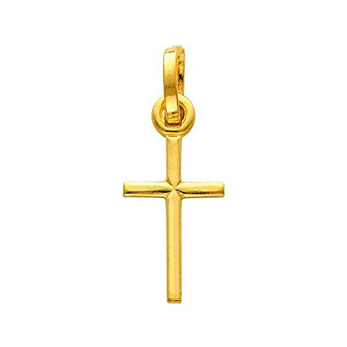 14 ct 585/1000 Or Croix-Charme-Pendentif
