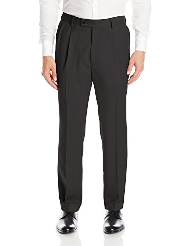 Louis Raphael Men's Rosso Pleated Easy Care Solid Dress Pant with Hidden Flex, Black, 32x30
