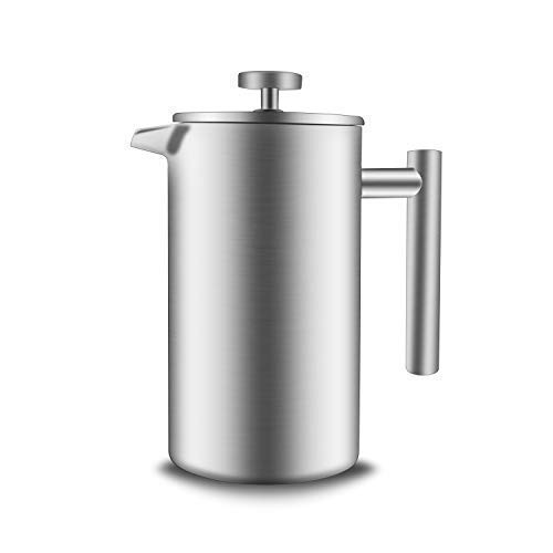 - French Press Coffee Maker Double-Wall 18/8 Stainless Steel Coffee and Tea Maker, Bonus Stainless Steel Screen and Coffee Powder Spoon, 34OZ