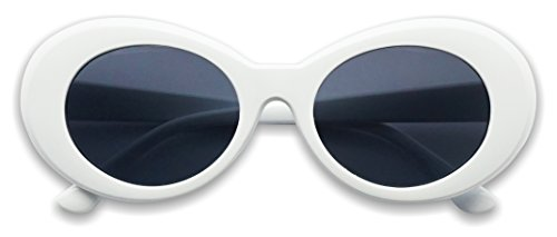 White Oval Clout Goggles Bold Retro Thick MOD 51mm Round Lens Sunglasses (White, ()
