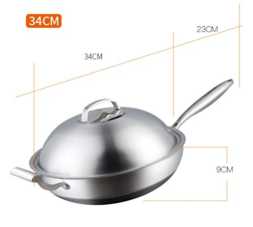WYQSZ Wok-stainless Steel Non-stick Wok Flat-bottom No Fumes Uncoated Pot Home Cooking Multi-function Wok -fry pan 2365 (Design : A, Size : 349cm) by WYQSZ (Image #1)