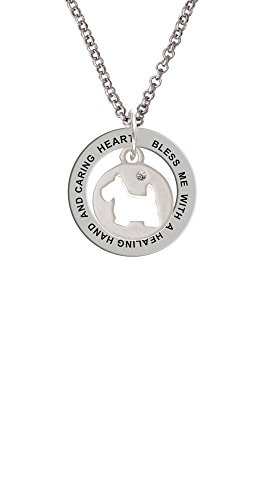 - Scottie Dog Silhouette - Healing Hand Affirmation Ring Necklace
