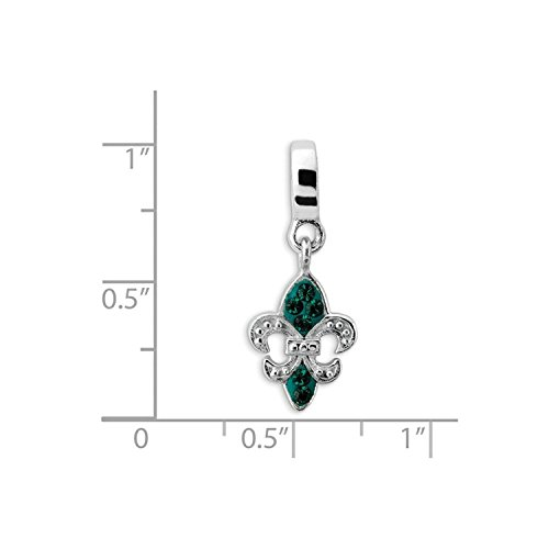 Sterling Silver Reflections Green Elements Fleur De Lis Dangle Bead (Sterling Green Reflections Silver)