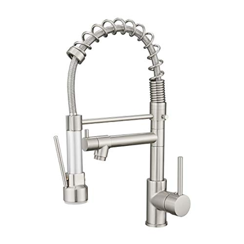 WANMAI Pull Down Kitchen Faucet, Heavy-Duty Durable Commercial Bar Sink Faucet, Water-Efficient Drip-Free Performance Kitchen Sink Faucets with Pullout Sprayer, Brushed Nickel