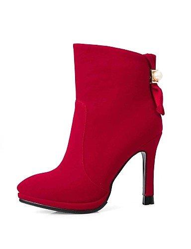 Tacón La Red Xzz Rojo Eu39 us8 Uk6 Vestido Uk3 Eu36 Negro Moda Zapatos Mujer us5 De 5 5 Red Stiletto Cn39 A Vellón Botas Cn35 Puntiagudos tHHr8x