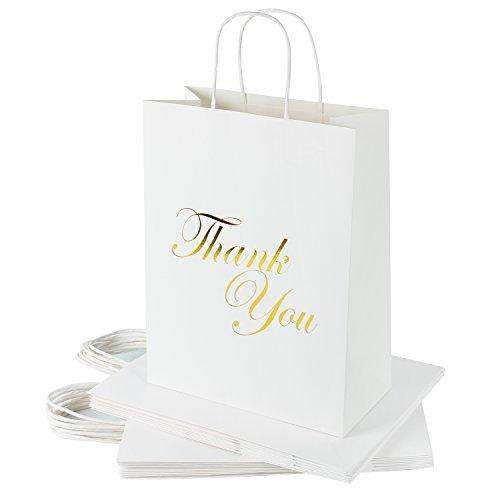 RUSPEPA Large Kraft Gift Bags -Thank You Gold Foil White Paper Gift Bag Set for Express Gratitude-12Pack -10